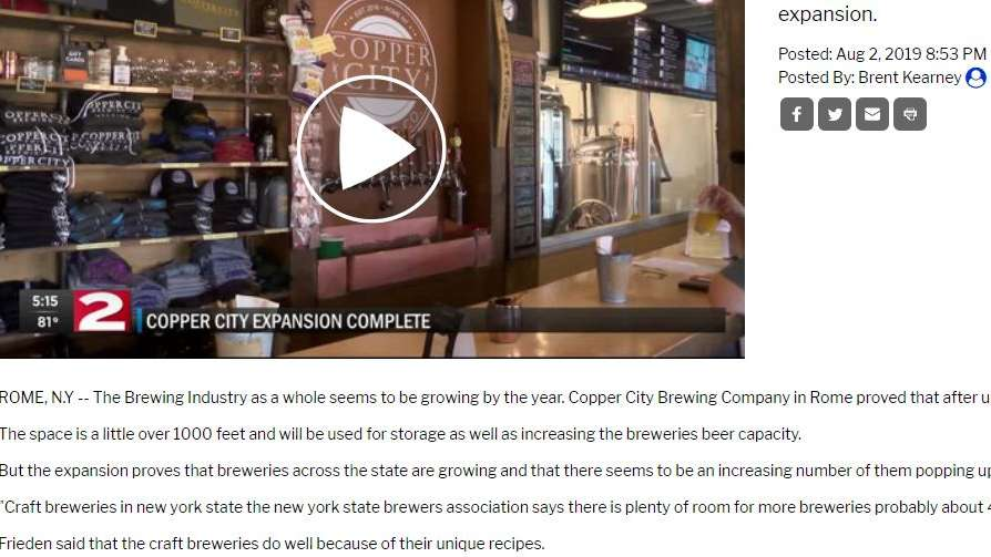 COPPER CITY BREWING COMPANY PROVES BREWING INDUSTRY IS GROWING WITH NEW EXPANSION